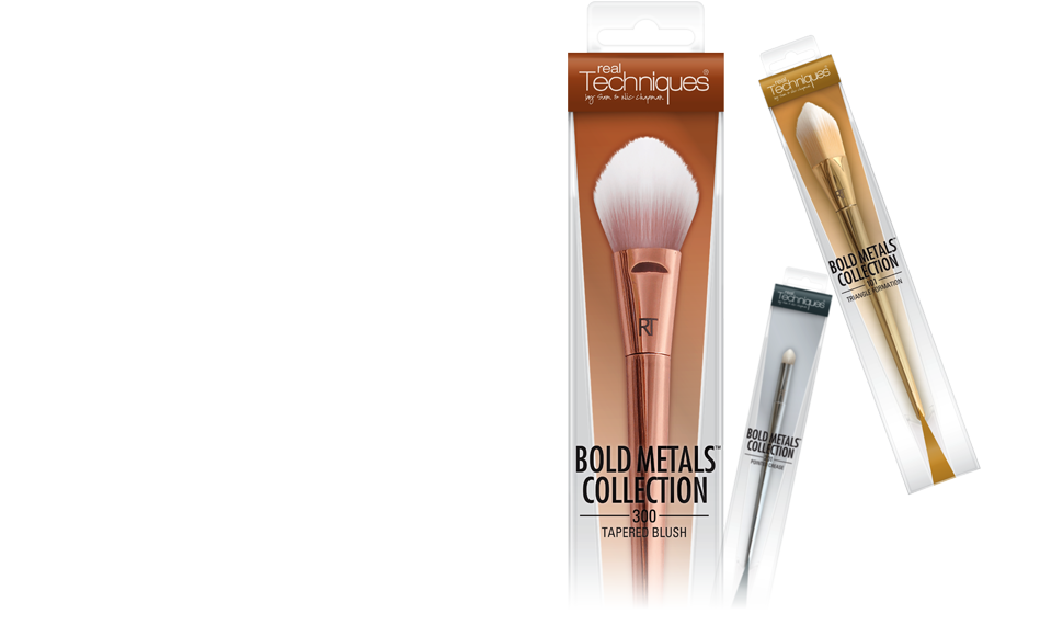 Bold Metals primary packaging - premium makeup brush collection | JOED DESIGN